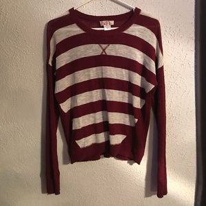 Maroon & White Stripped Sweater